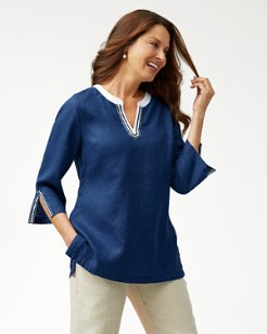 Two Palms 3/4-Sleeve Linen Tunic
