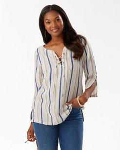 Warm Sands Stripe Linen-Blend Tunic