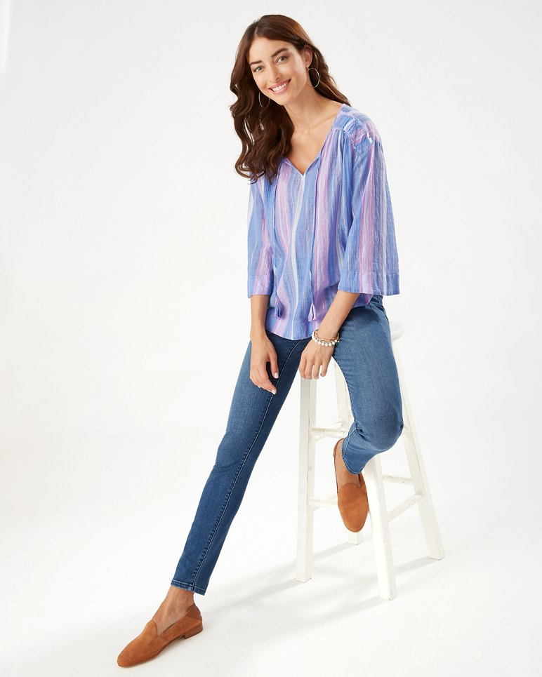 Main Image for Stripe Down 3/4-Sleeve Top