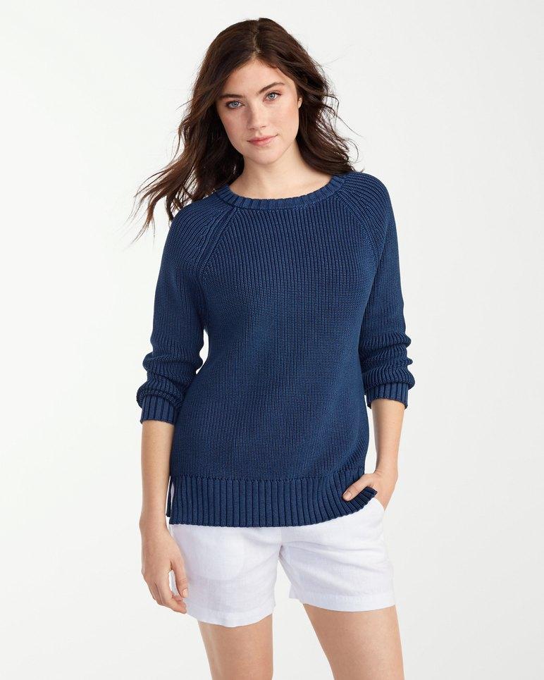 Sea Glass Cotton Shaker Sweater