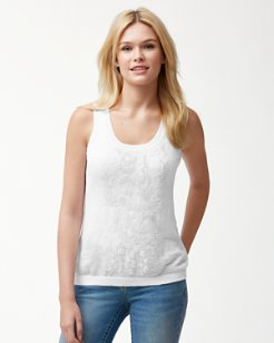 Lea Embellished Linen Tank Sweater