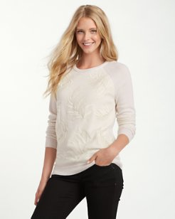 Fronds Falling Silk Front Cashmere Sweater