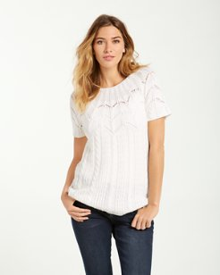 Cascade Cable Short-Sleeve Crewneck Sweater
