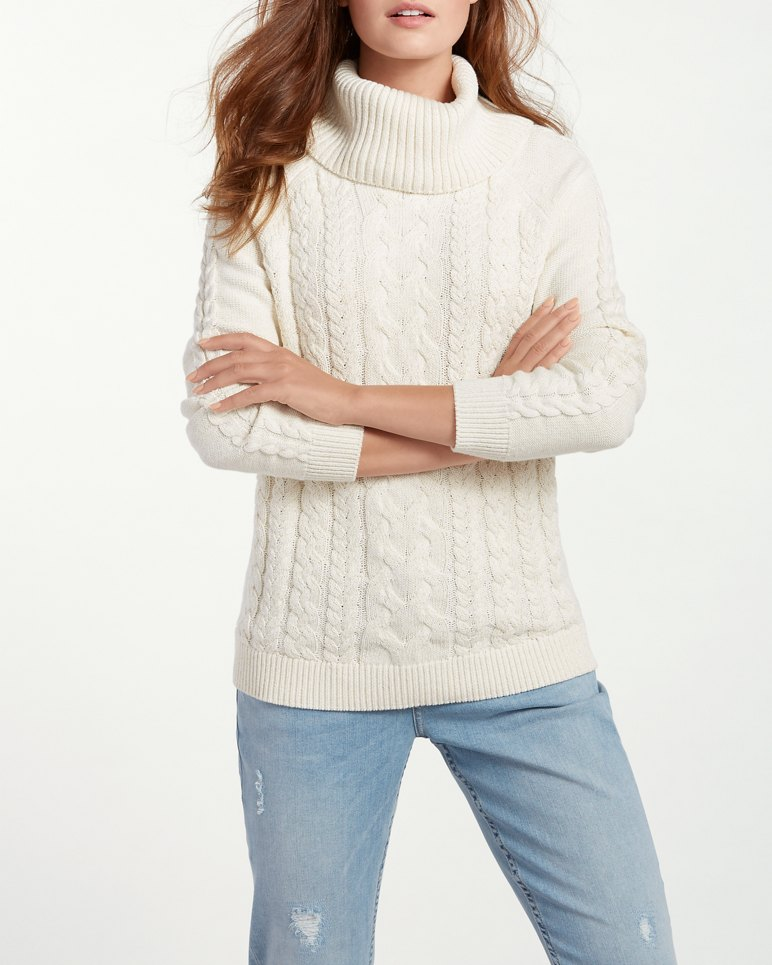 Paradise Sparkle Cable Cowl-Neck Sweater