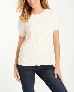 Paradise Sparkle Cable Short-Sleeve Sweater