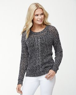 Cascade Cable Sparkle Crewneck Sweater