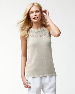 Linen Texture-Stitch Halter Top