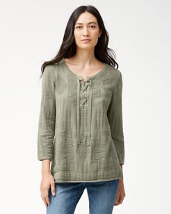 Tommy Bahama & Pendleton® Aloha Harding Lace-Up Neck Sweater