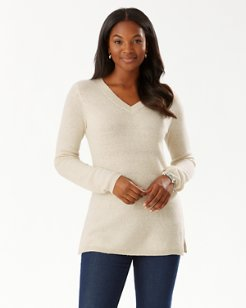 Serena Deep V-Neck Shimmer Tunic Sweater