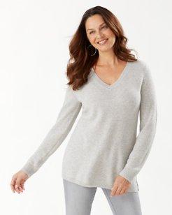 Serena Deep V-Neck Shimmer Tunic Sweater