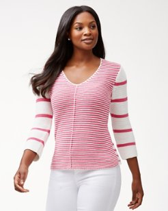 Sea Glass Mixed Stripe V-Neck Sweater