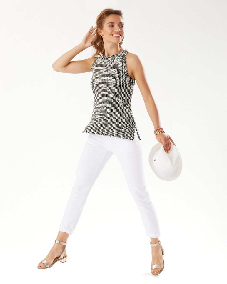 Main Image for Two-Color Cotton Halter Sweater Tank