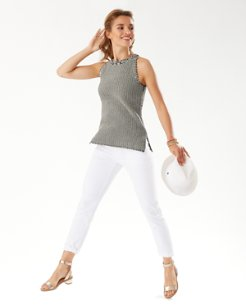 Two-Color Cotton Halter Sweater Tank