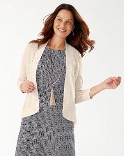 Lea Shimmer Linen Open Cardigan