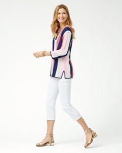 Vitti Vines Split-Neck Tunic Sweater