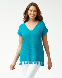 Tassel Hem Short-Sleeve Tunic