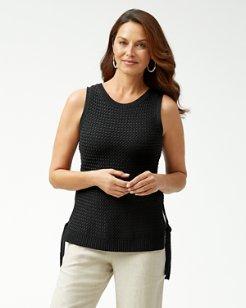 Basket Weave Linen-Blend Tank Sweater