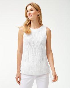 14c53318358cf Basket Weave Linen-Blend Tank Sweater