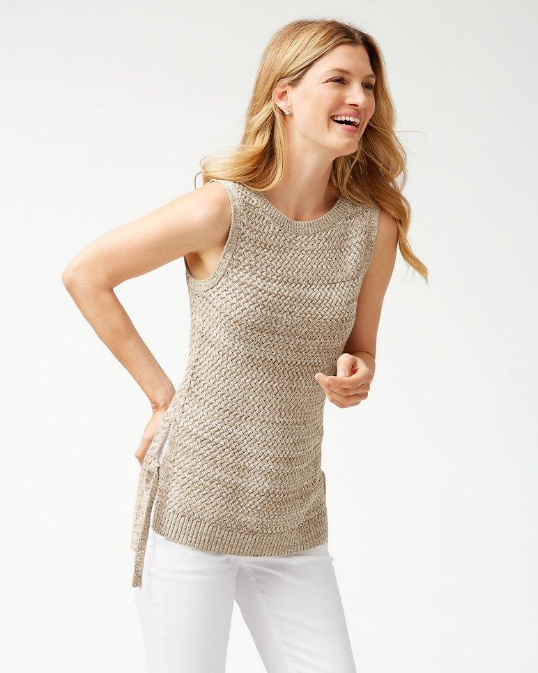 Main Image for Basket Weave Linen-Blend Tank Sweater