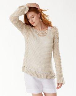 Linen-Blend Boat Neck Sweater