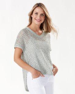 Dina Geo Short-Sleeve Tunic Sweater