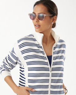 Tami Stripe Zip-Up Cardigan
