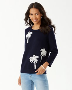 Pickford Coastal Palm Embroidered Sweater