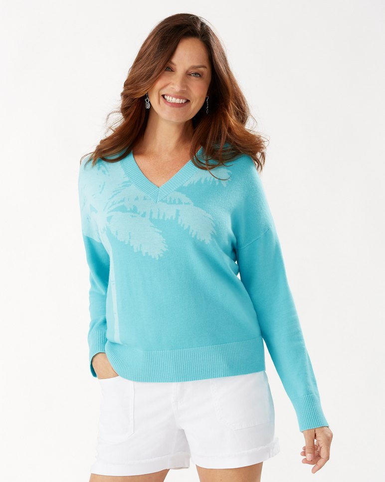 Main Image for Courtside Palm Intarsia V-Neck Sweater