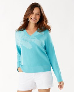 Courtside Palm Intarsia V-Neck Sweater