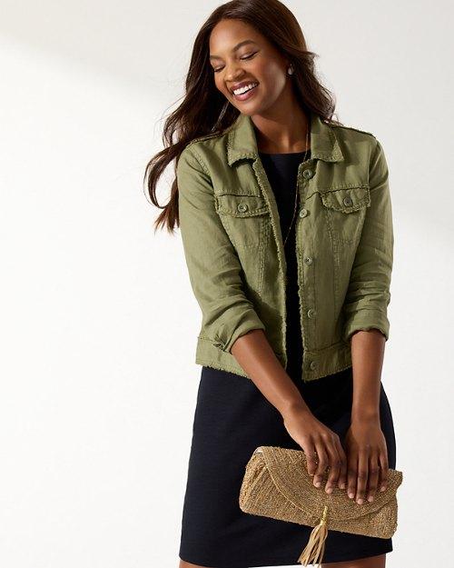 Two Palms Linen Raw-Edge Jacket