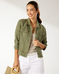 Two Palms Linen Raw-Edge Jacket
