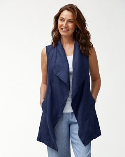 Two Palms Long Linen Vest