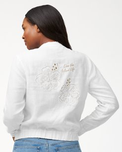 Two Palms Hibiscus Linen Jacket