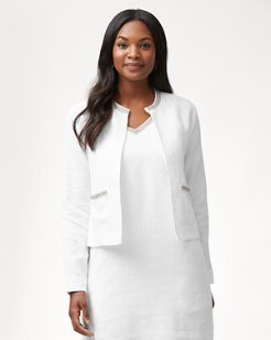 Luxe Linen Embellished Jacket