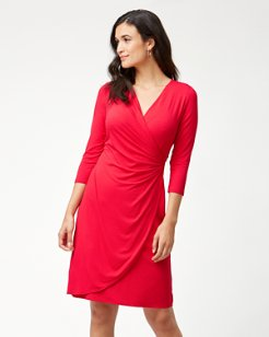 Tambour 3/4-Sleeve Wrap Dress