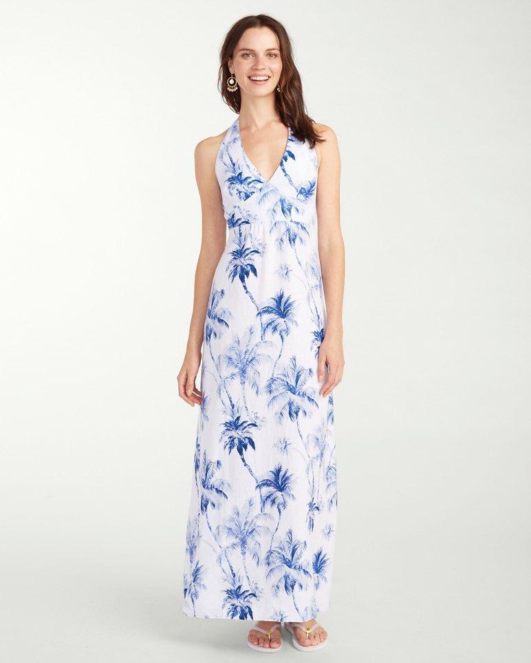 Art Of Palms Linen Halter Maxi Dress