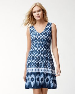 Ikat Linen-Blend Dress