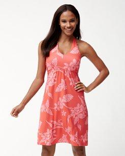 Hibiscus Hiatus Tambour Halter Dress