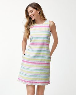 Tulum Stripe Linen Shift Dress
