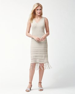 Cedar Pointelle Linen Dress