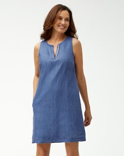Sea Glass Linen Shift Dress