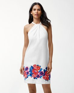 Frieda Floral Linen-Blend Halter Dress