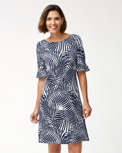 Frond Song Flounce-Sleeve Ponte Dress