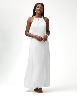 Sunrise Twill Linen-Blend Godet Maxi Dress