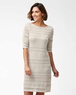 Cedar Shimmer Linen Dress