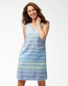 f422ef9215 Micronesia Stripe Linen Shift Dress
