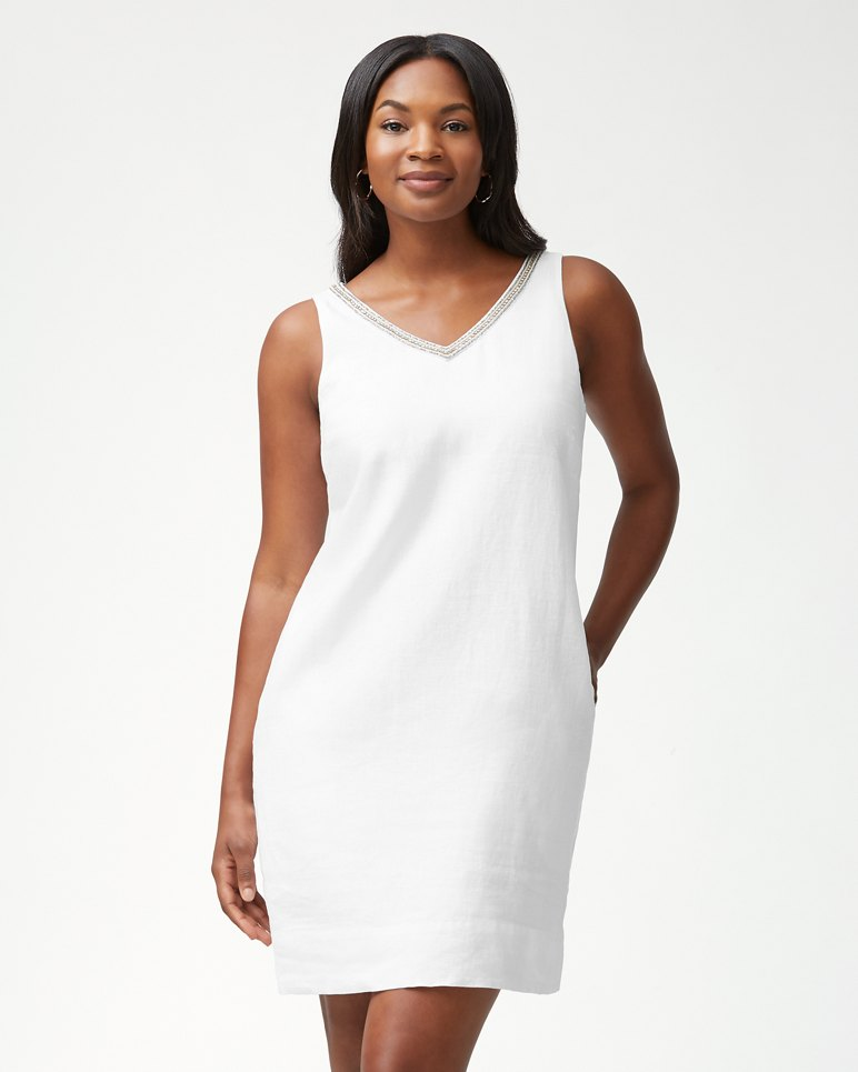 Main Image for Luxe Linen Embellished Shift Dress