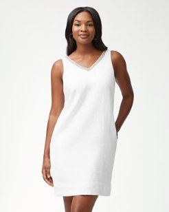 Luxe Linen Embellished Shift Dress