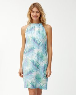Leinani Leaves Linen Halter Dress