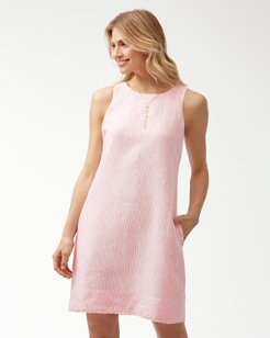 Crystalline Waters Linen Shift Dress